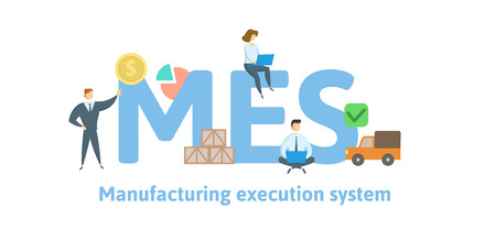 MES, Manufacturing execution system. Concept with keywords, letters and icons. Colored flat vector illustration. Isolated on white background. 일러스트