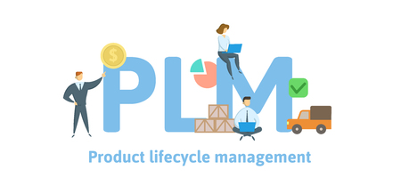 PLM, Product Lifecycle Management. Concept with keywords, letters and icons. Colored flat vector illustration. Isolated on white background.