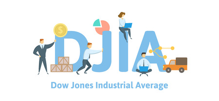 DJIA, Concept with keywords, letters and icons. Illustration