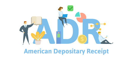 ADR, American depositary receipt. Concept with keywords, letters and icons. Colored flat vector illustration. Isolated on white background.