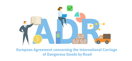 ADR, European Agreement concerning the International Carriage of Dangerous Goods by Road. Concept with keywords, letters and icons. Colored flat vector illustration. Isolated on white background.