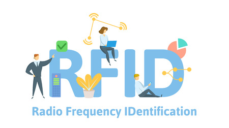 RFID, Radio Frequency IDentification. Concept with keywords, letters and icons. Colored flat vector illustration. Isolated on white background. Illustration