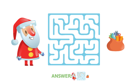 Winter Maze Labyrinth Game with answer. Help Santa find the way out of the Labyrinth. Illustration