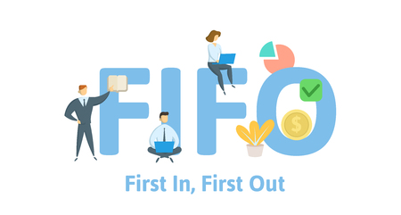 FIFO, first in, first out. Concept with keywords, letters and icons. Çizim