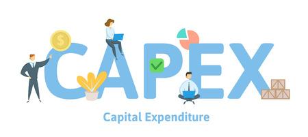 CAPEX, gastos de capital. Concepto con palabras clave, letras e iconos. Ilustración de vector plano coloreado. Aislado sobre fondo blanco.