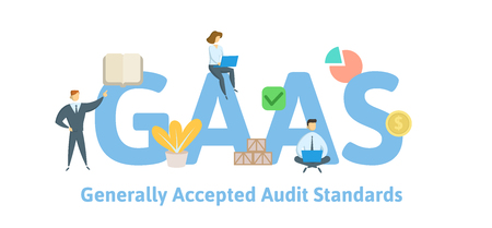GAAS, Generally Accepted Auditing Standards. Concept with keywords, letters and icons. Colored flat vector illustration. Isolated on white background.