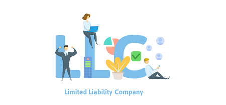 LLC, Limited Liability Company. Concept with keywords, letters and icons. Colored flat vector illustration. Isolated on white background. Vektoros illusztráció