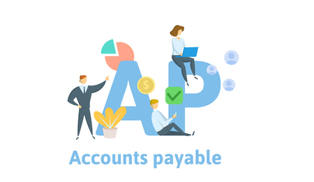 AP, Accounts Payable. Concept with keywords, letters and icons. Colored flat vector illustration. Isolated on white background.
