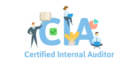 CIA, Certified Internal Auditor. Concept with keywords, letters and icons. Colored flat vector illustration. Isolated on white background. Ilustração