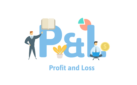 P and L, profit and loss. Concept with keywords, letters and icons. Colored flat vector illustration. Isolated on white background.