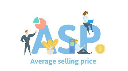 ASP, Average Selling Price. Concept with keywords, letters and icons. Colored flat vector illustration. Isolated on white background.