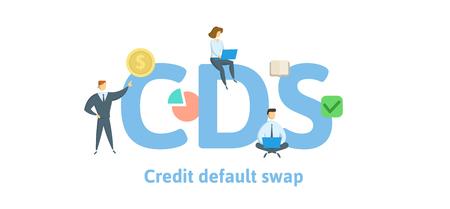 CDS, Credit Default Swap. Concept avec des mots-clés, des lettres et des icônes.