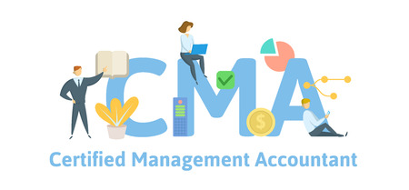 CMA, Certified Management Accountant. Concept with keywords, letters and icons.