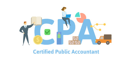 CPA, Contador Público Autorizado. Concepto con palabras clave, letras e iconos. Ilustración de vector plano coloreado. Aislado sobre fondo blanco. Ilustración de vector