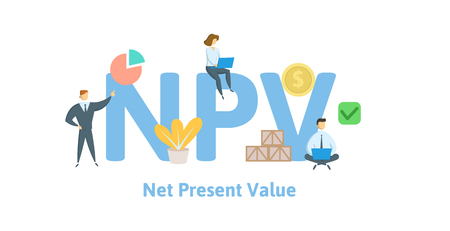 NPV, Net Present Value. Concept with keywords, letters and icons. Colored flat vector illustration. Isolated on white background.