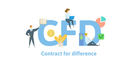 CFD, Contract For Difference. Concept with keywords, letters and icons. Colored flat vector illustration. Isolated on white background.