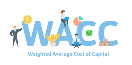WACC, Weighted Average Cost of Capital. Concept with keywords, letters and icons. Colored flat vector illustration. Isolated on white background.