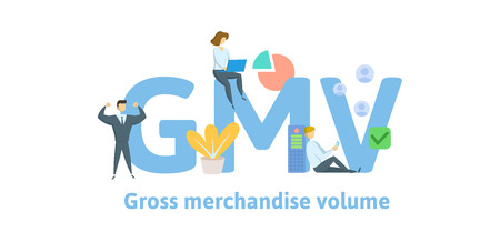 GMV, Gross Merchandise Volume. Concept with keywords, letters and icons. Colored flat vector illustration. Isolated on white background.  イラスト・ベクター素材