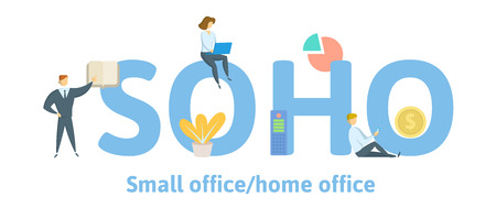 SOHO, Small Office - Home Office. Concept with keywords, letters and icons. Colored flat vector illustration. Isolated on white background.