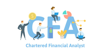 CFA, Chartered Financial Analyst. Concept with keywords, letters and icons. Colored flat vector illustration. Isolated on white background.