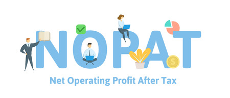 NOPAT, Net Operating Profit After Tax. Concept with keywords, letters and icons. Colored flat vector illustration. Isolated on white background.