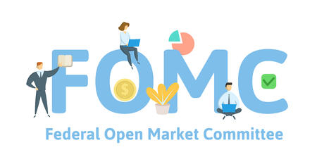 FOMC, Federal Open Market Committee. Concept with keywords, letters and icons.