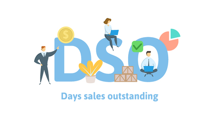 DSO, Days Sales Outstanding. Concept with keywords, letters and icons. Colored flat vector illustration. Isolated on white background.