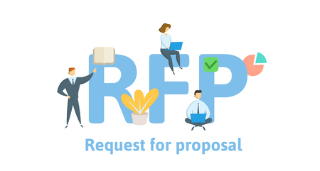 RFP, Request For Proposal. Concept with keywords, letters and icons. Colored flat vector illustration. Isolated on white background.