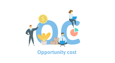 OC, Opportunity Cost. Concept with keywords, letters and icons. Colored flat vector illustration. Isolated on white background.