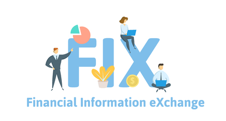 FIX, Financial Information Exchange. Concept with keywords, letters and icons. Colored flat vector illustration. Isolated on white background.  イラスト・ベクター素材