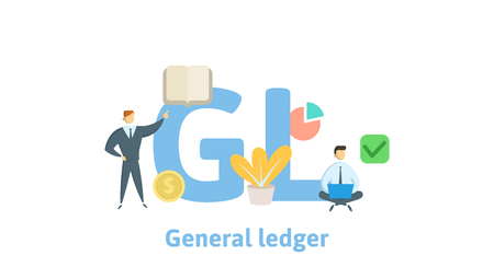 GL, General Ledger. Concept with keywords, letters and icons.