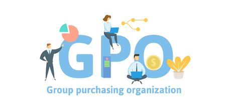 GPO, Konzerneinkaufsorganisation. Konzept mit Schlüsselwörtern, Buchstaben und Symbolen.