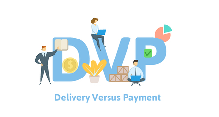 DVP, Delivery Versus Payment. Concept with keywords, letters and icons. Colored flat vector illustration. Isolated on white background.