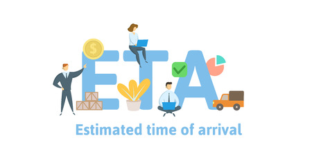 ETA, Estimated Time of Arrival. Concept with keywords, letters and icons. Colored flat vector illustration. Isolated on white background.