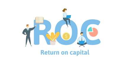 ROC, Return of Capital. Concept with keywords, letters and icons. Colored flat vector illustration. Isolated on white background.