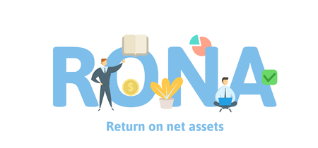 RONA, Return On Net Assets. Concept with keywords, letters and icons. Colored flat vector illustration. Isolated on white background. 일러스트