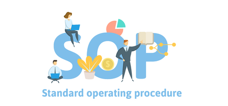 SOP, procedimiento operativo estándar. Concepto con palabras clave, letras e iconos. Ilustración de vector plano coloreado. Aislado sobre fondo blanco. Ilustración de vector