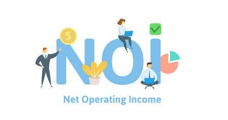NOI, net operating income. Concept with keywords, letters and icons. Colored flat vector illustration. Isolated on white background.