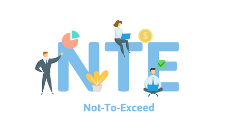NTE, Not To Exceed. Concept with keywords, letters and icons. Colored flat vector illustration. Isolated on white background. Çizim