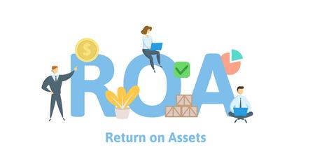 ROA, Kapitalrendite. Konzept mit Schlüsselwörtern, Buchstaben und Symbolen. Farbige flache Vektorillustration. Isoliert auf weißem Hintergrund.