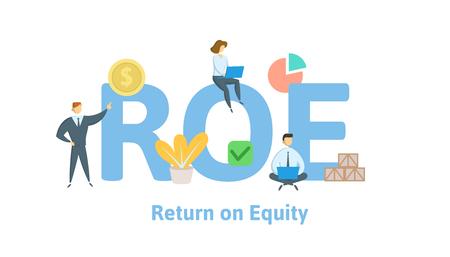 ROE, Eigenkapitalrendite. Konzept mit Schlüsselwörtern, Buchstaben und Symbolen. Farbige flache Vektorillustration. Isoliert auf weißem Hintergrund. Vektorgrafik