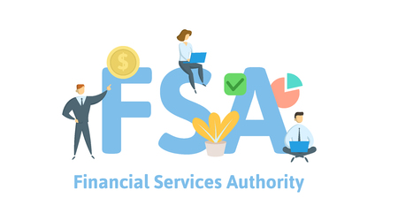FSA, Financial Services Authority. Concept with keywords, letters and icons.