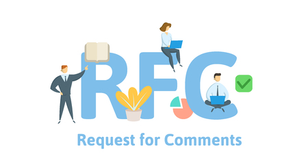 RFC, Request for Comments. Concept with keywords, letters and icons. Ilustrace