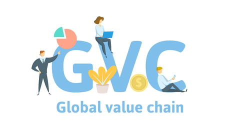 GVC, Global Value Chain. Concept with keywords, letters and icons. Colored flat vector illustration. Isolated on white background. 일러스트