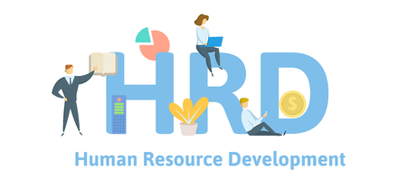 HRD, Human Resource Development. Concept with keywords, letters and icons. Colored flat vector illustration. Isolated on white background.