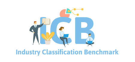 ICB, Industry Classification Benchmark. Concept with keywords, letters and icons. Colored flat vector illustration. Isolated on white background.