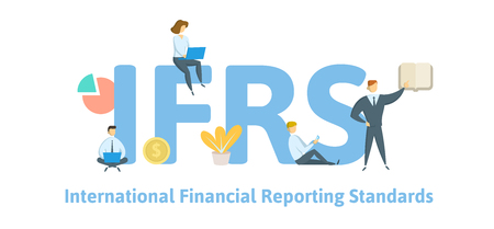 IFRS, International Financial Reporting Standards. Concept with keywords, letters and icons. Colored flat vector illustration. Isolated on white background. Ilustrace
