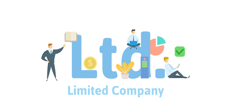 Ltd, Limited Company. Concept with keywords, letters and icons. Vector Illustration