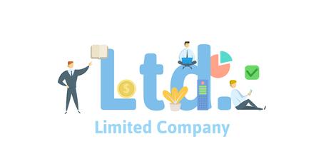 Ltd, sociedad limitada. Concepto con palabras clave, letras e iconos. Ilustración de vector
