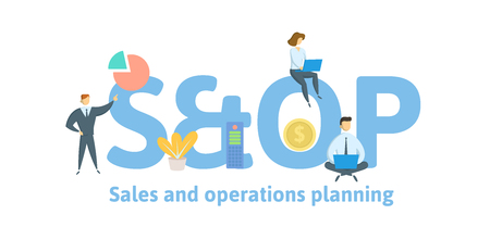 SOP, Sales and operations planning. Concept with keywords, letters and icons. Colored flat vector illustration. Isolated on white background. Çizim